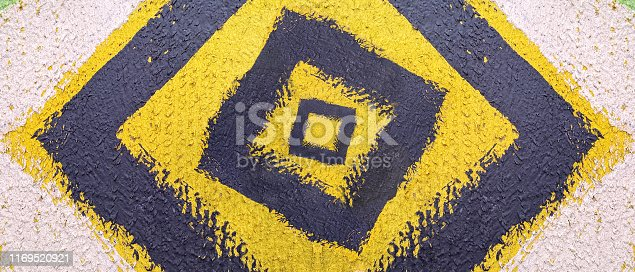 istock Abstract pattern. Minimal geometric background. Colorful dynamic shapes. Black and yellow background with ink blots. 1169520921