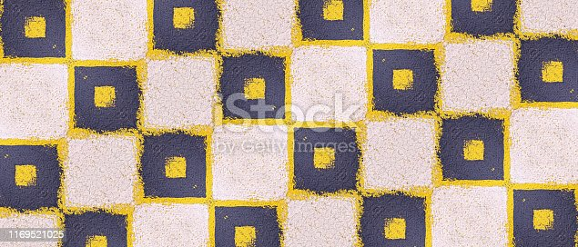istock Abstract pattern. Minimal geometric background. Colorful dynamic shapes. Black and yellow background with ink blots. 1169521025