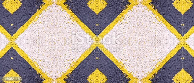 istock Abstract pattern. Minimal geometric background. Colorful dynamic shapes. Black and yellow background with ink blots. 1169521152