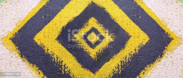 istock Abstract pattern. Minimal geometric background. Colorful dynamic shapes. Black and yellow background with ink blots. 1169521162