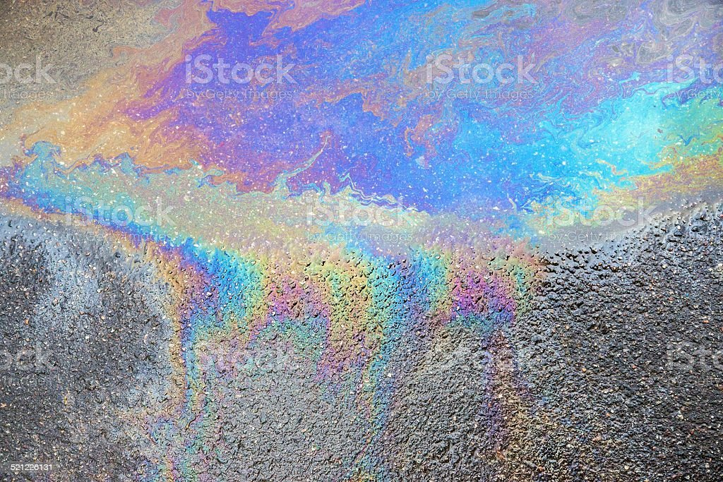 abstract pattern of an oil or petrol slick stock photo