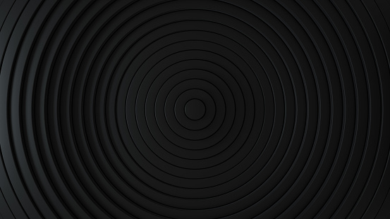 Abstract pattern of circles with the effect of displacement. Black clean rings. Abstract background for business presentation. Modern simple shape wave style. 3d render