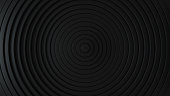 istock Abstract pattern of circles with the effect of displacement. Black clean rings. Abstract background for business presentation. Modern simple shape wave style. 3d render 1235301157