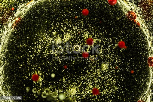 Abstract pattern. Texture for graphic design made with water, oil and dyes. Figures like viruses and cell. Coronavirus, flu and various viruses.