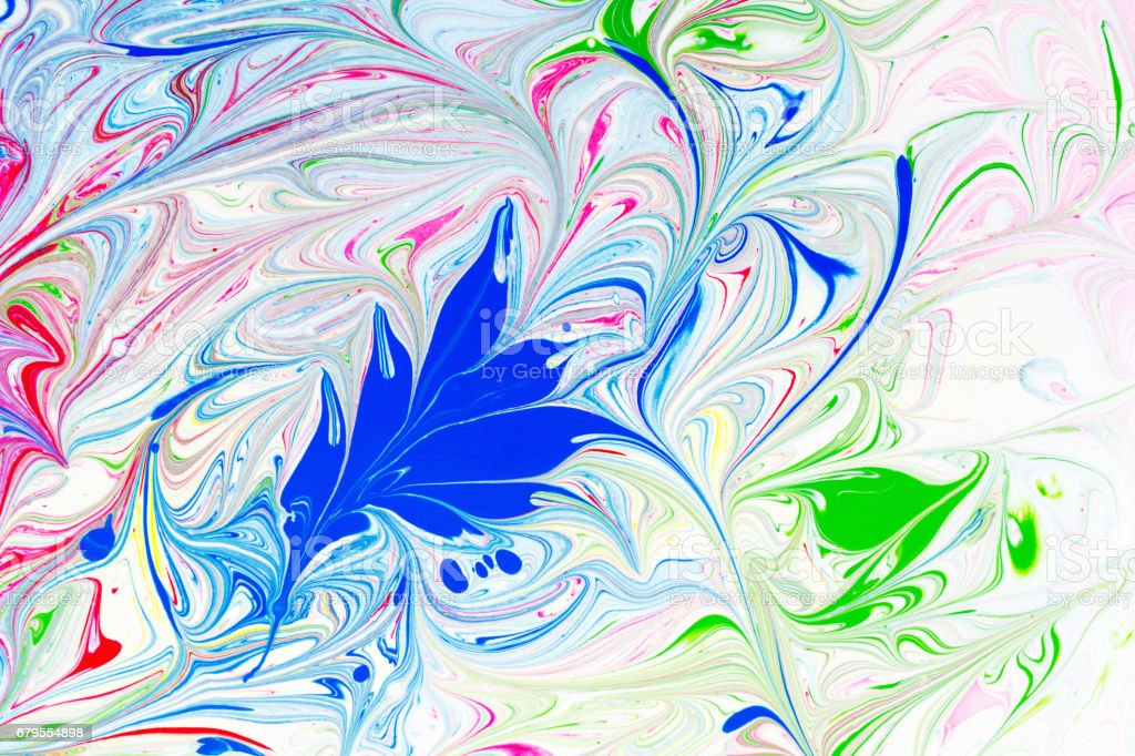 Abstract pattern, Traditional Ebru art. Color ink paint with waves. Floral background. stock photo