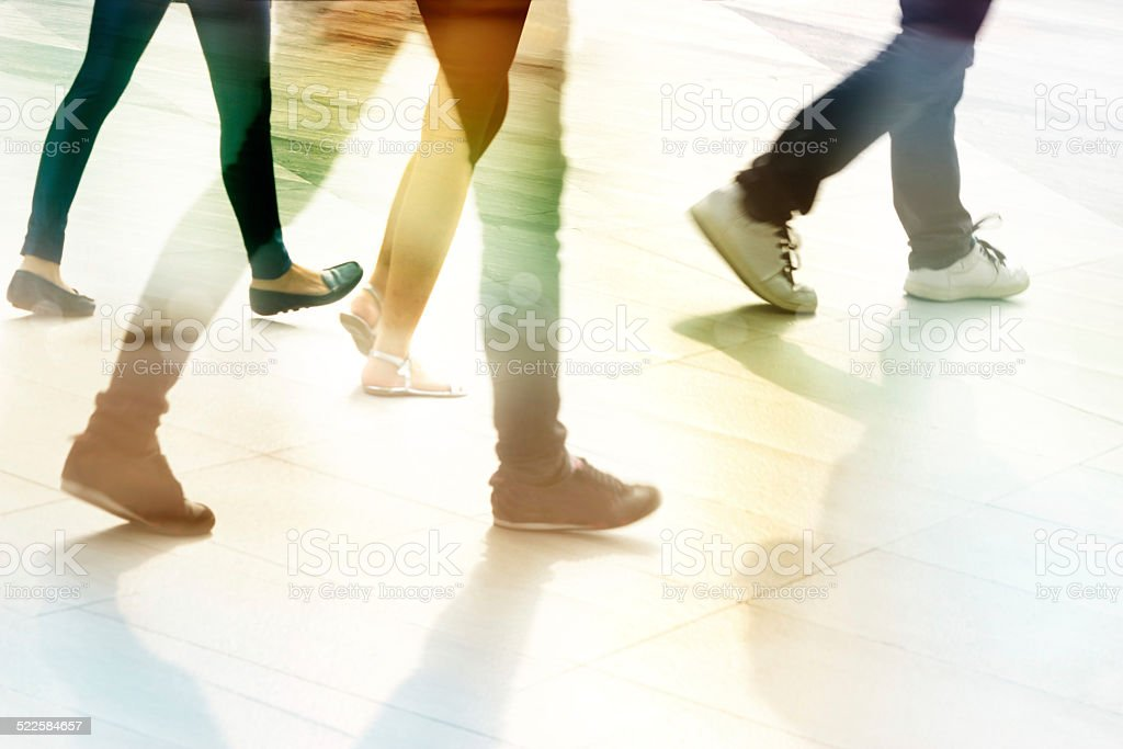 abstract people street walk, pastel and blur concept stock photo