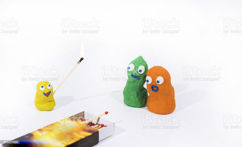 Abstract persons made from Play Clay. stock photo