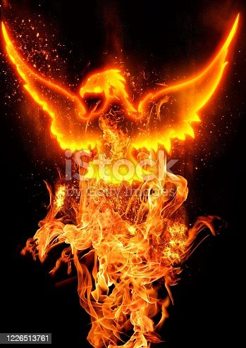 Abstract phoenix flapping the darkness