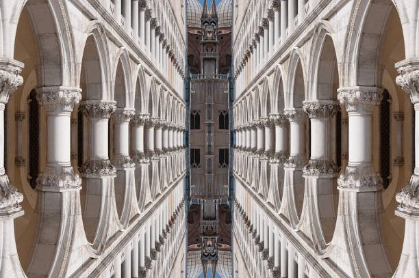 abstrakte säulen reflexion - deutsche bibliothek stock-fotos und bilder