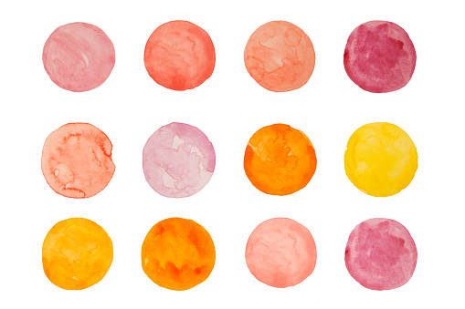 Abstract pink and yellow circles watercolor isolated white background