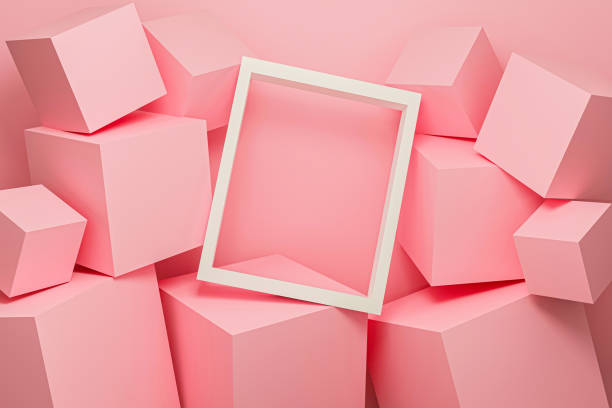 Abstract pink background texture with geometric shape. 3d cube wall. Minimal mockup with white picture frame and pink pastel podium scene concept. 3d render design for display product on website. stock photo