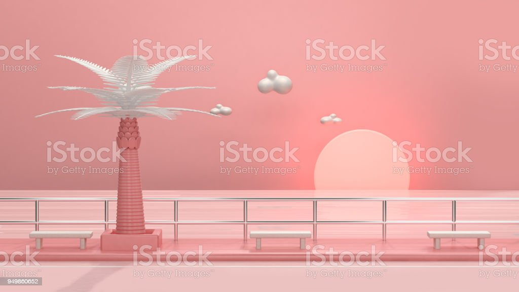 abstract Pink Beach Sunset 3d rendering stock photo