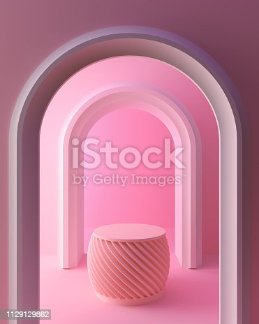 1129130396 istock photo abstract pink color geometric shape background, modern minimalist mockup for podium display. 1129129862