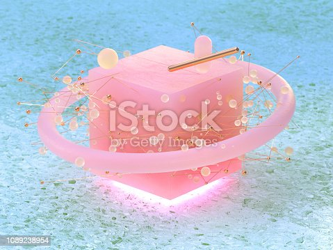 950775710 istock photo abstract pink cube shape circle sphere floating 3d rendering green marble floor 1089238954