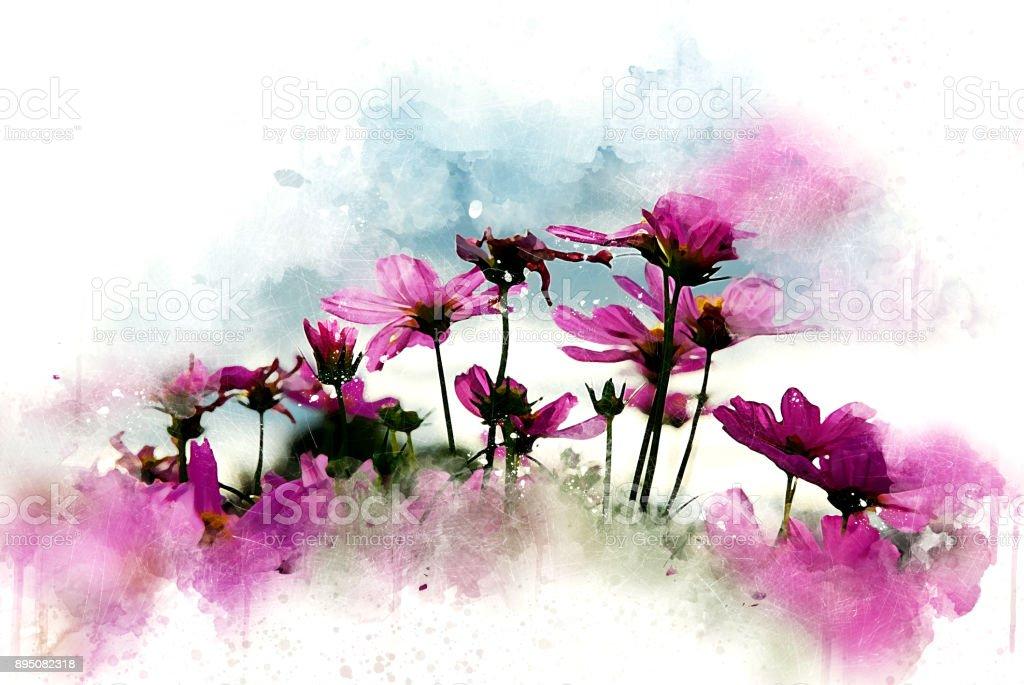 Abstrakte rosa Blume auf bunte Aquarell Hintergrund und digitale Illustration Bürste zur Kunst. – Foto