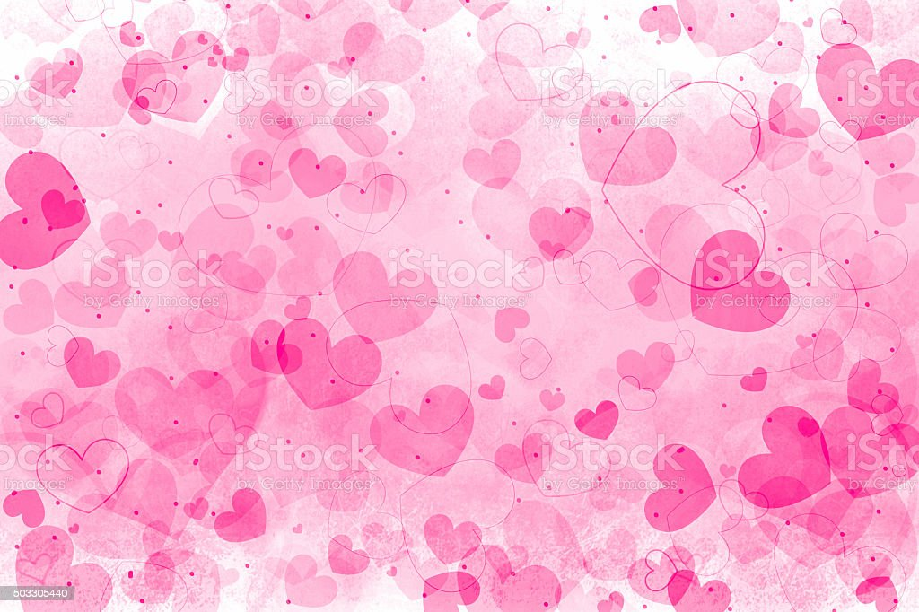 Abstract pink hearts art background stock photo