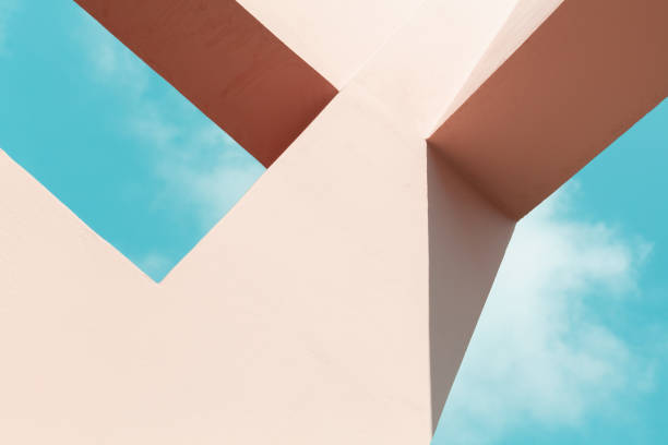 Abstract pink painted concrete structure stock photo