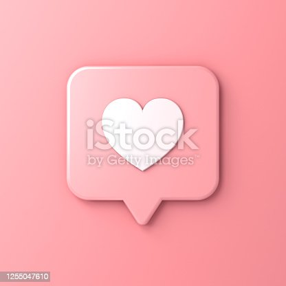 istock Abstract pink pastel color social media notification love like heart icon in rounded square pin isolated on pink wall background 1255047610