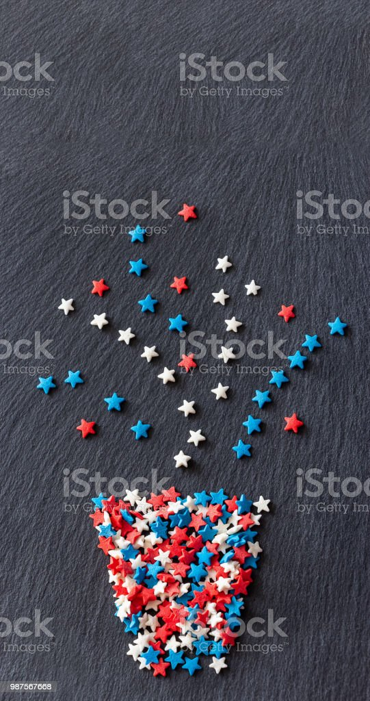 Abstract plant in pot stars shape of confetti. Textural slate background. Vertical Web banner. Top view. Copy space. stock photo