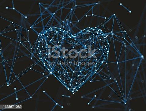 istock Abstract plexus in heart Shape molecule or Atom. 1155671039