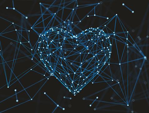 Abstract plexus in heart Shape molecule or Atom background, 3d rendering.