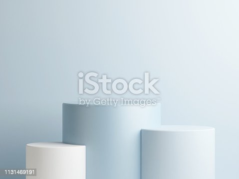 istock Abstract podium composition, blue background copy space 1131469191