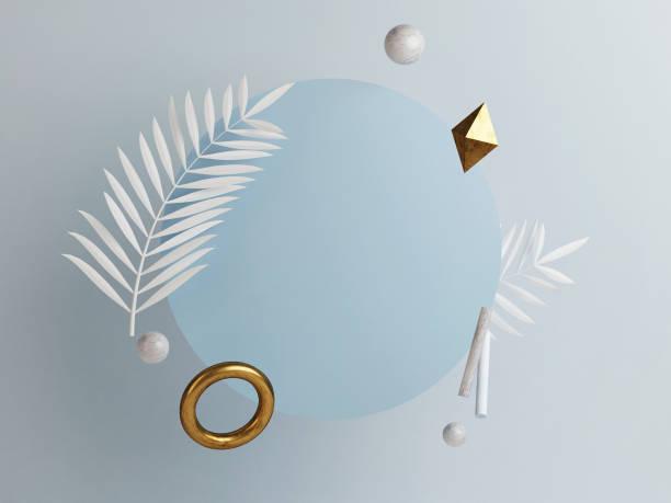 Abstrakte Podiumszusammensetzung, blauer Kopierraum – Foto