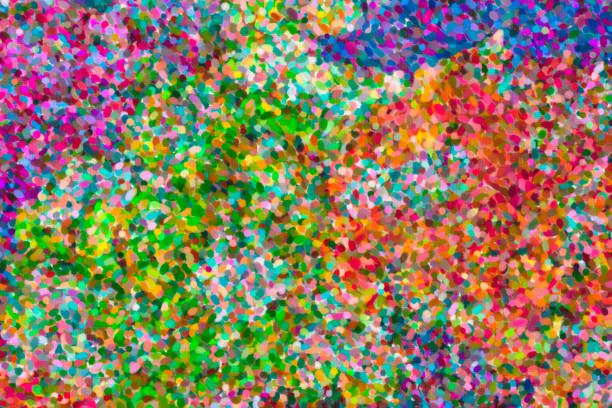 abstract pointillist oil painting - impressionist painting stock photos and pictures