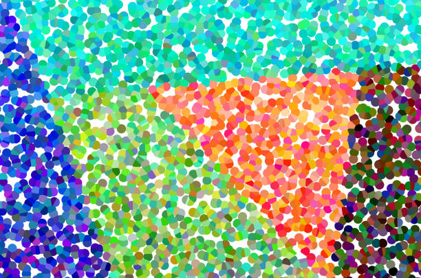 Abstract pointillistic and geometric colors background stock photo