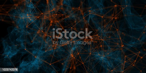 Abstract polygonal mesh background. Technology and connectivity concept. 3D Rendering