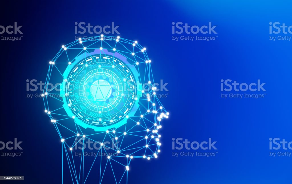 Abstract polygonal male head in artificial intelligence in futuristic technology concept, 3d illustration stock photo