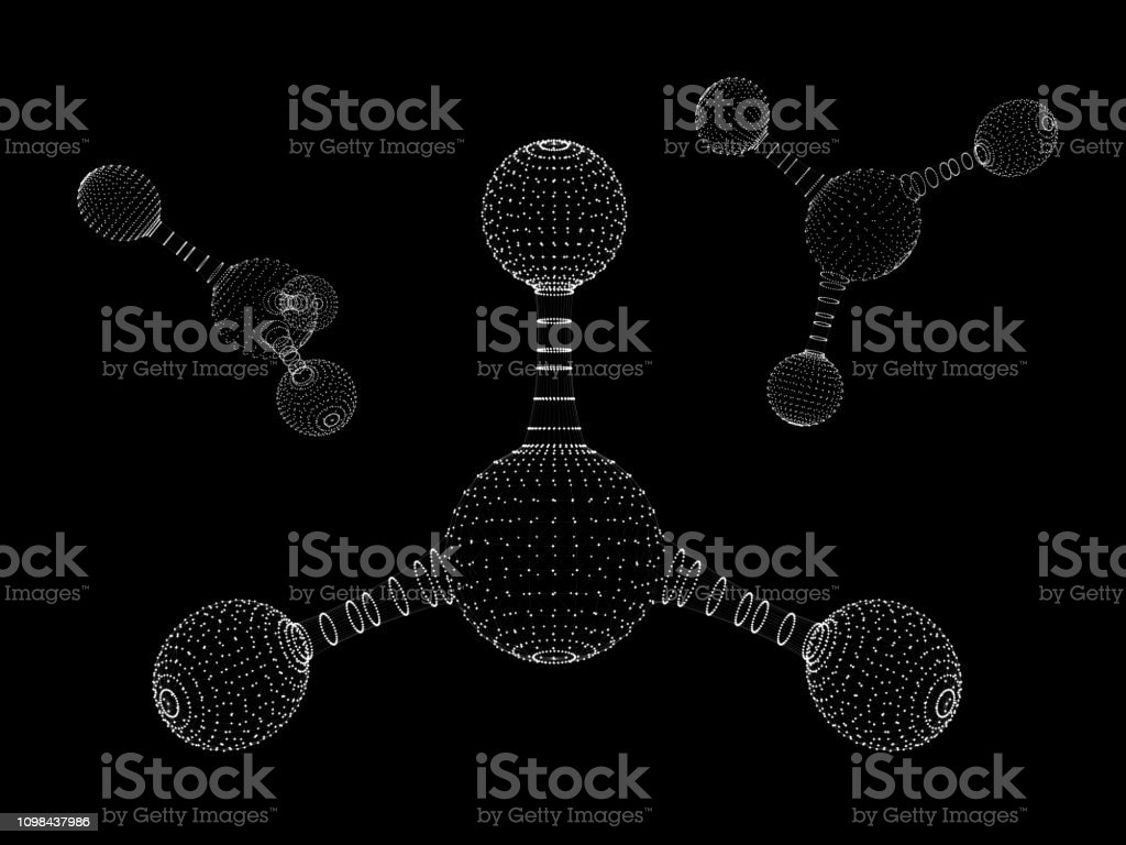 Abstract polygonal molecule structure icon. low poly biological...
