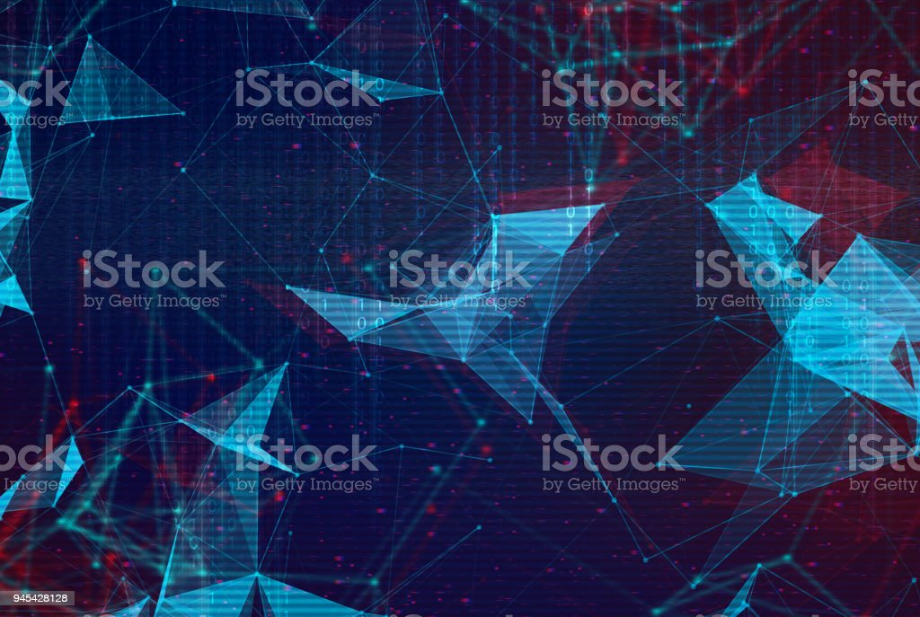 Abstract polygonal space low poly background. stock photo