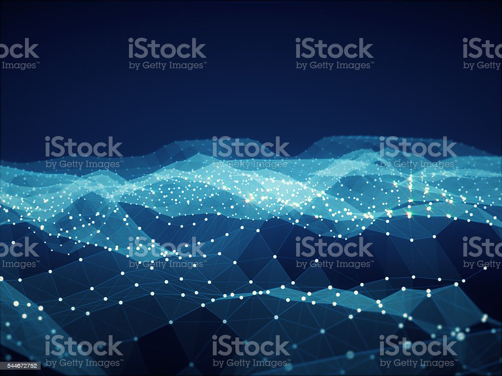 Abstract polygonal space low poly dark background with connecting lines. stock photo