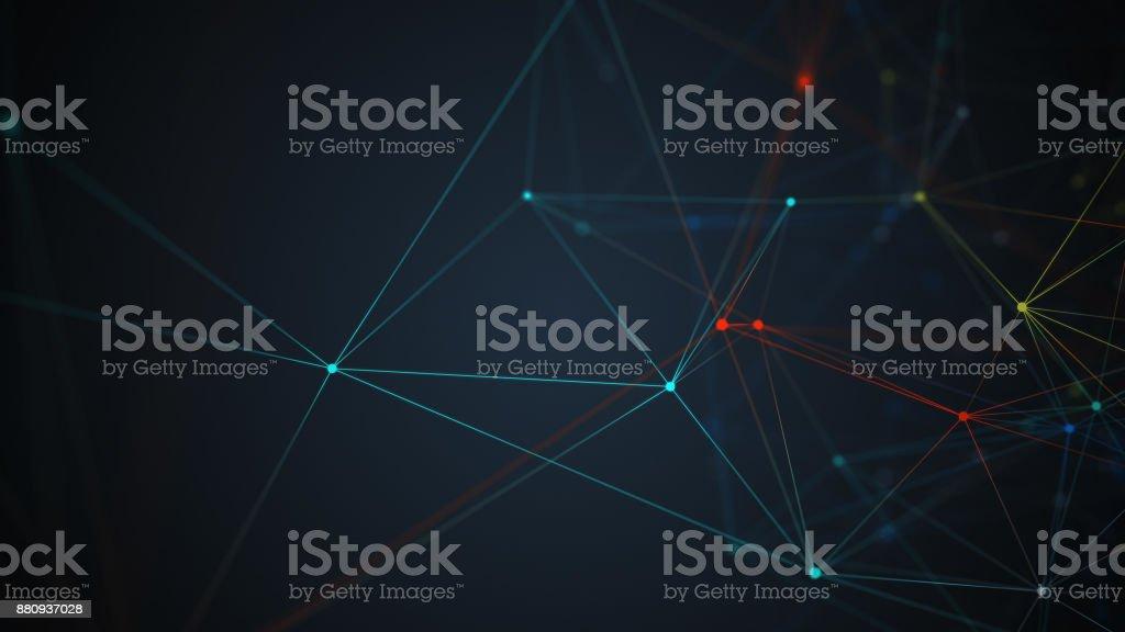 抽象多邊形空間低聚暗背景與連接點和線。連接結構。圖像檔