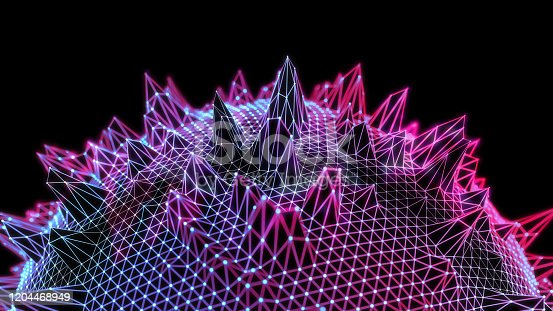 846266794 istock photo Abstract polygonal sphere structure on dark background 1204468949