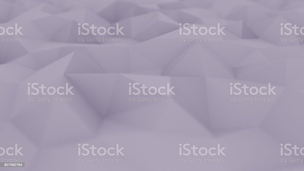Abstract polygonal violet surface, shallow focus close-up. 3D rendering background stock photo