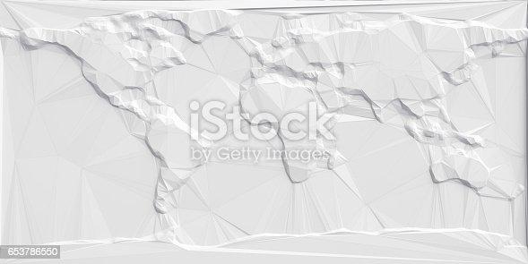 istock Abstract Polygonal World Map 653786550