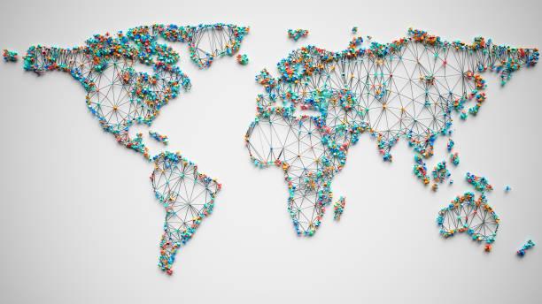 Abstrakte polygonale Weltkarte mit Verbindungen – Foto