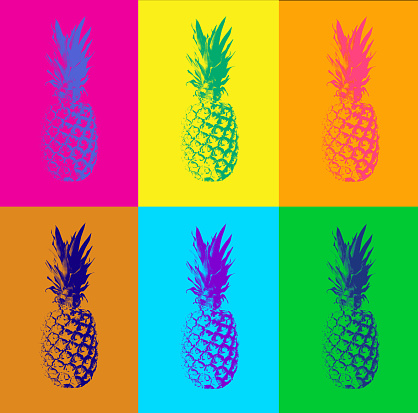 istock Abstract pop art duotone background with pineapples 968279376