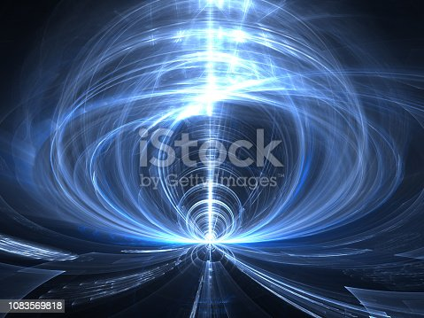 Abstract portal or funnel - computer generated image. Fractal background in space or magic theme. Backdrop for technology and sci-fi design projects.