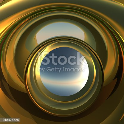 A cool metallic golden portal. Abstract concept to reflect future opportunity