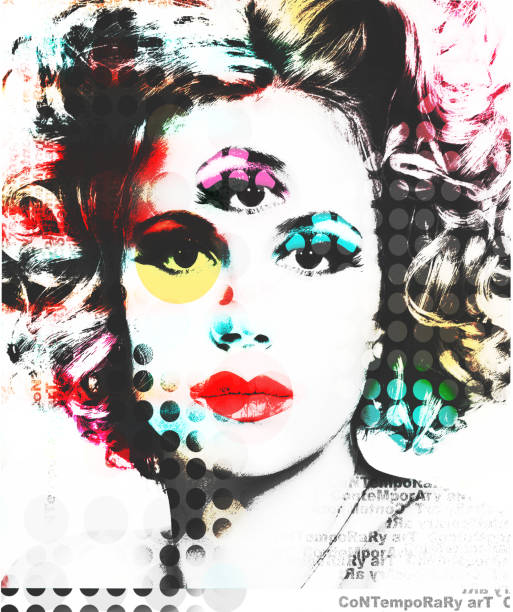 abstract portrait of a beautiful girl with an eye on the forehead in the pop art style. - pop art stock photos and pictures