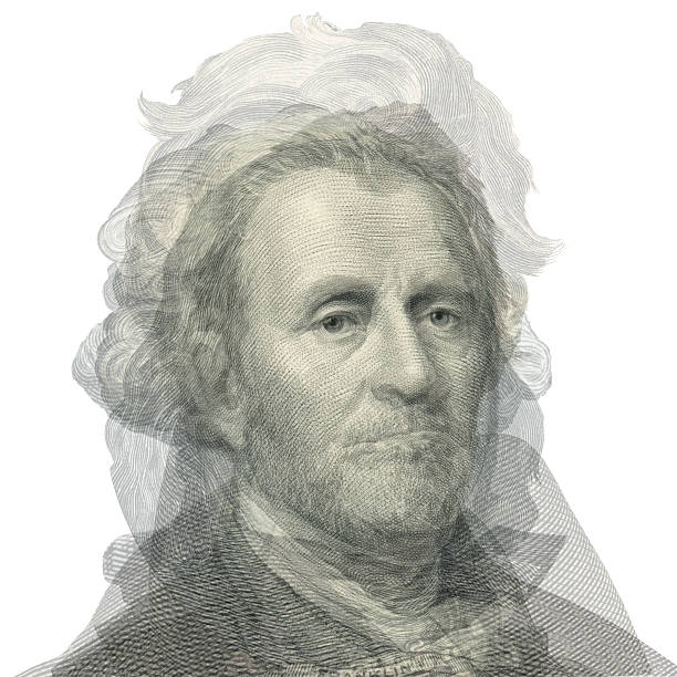 Abstract portrait of presidents. Overlay face. stock photo