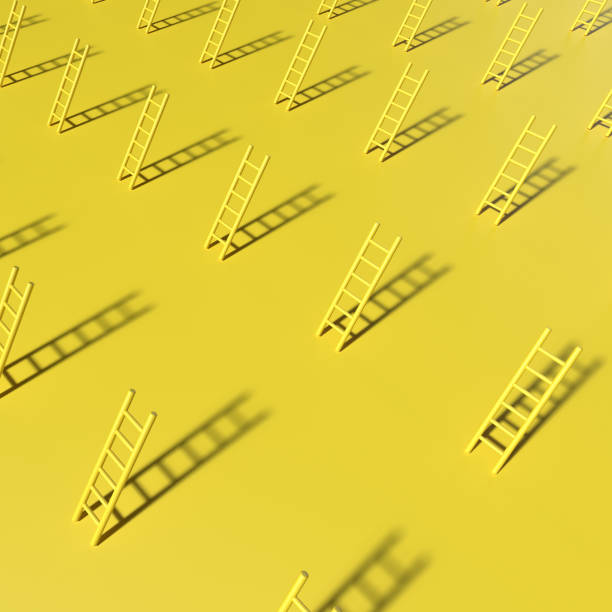 Abstract poster style with monochrome yellow geometric elemenst. Ladders balance in the air. 3D rendering objects shape. Minimal art pattern stock photo
