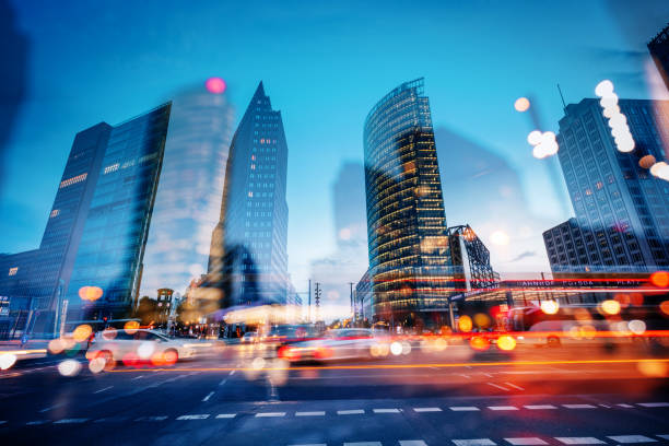 abstract Potsdamer Platz at dusk, Berlin, Germany stock photo
