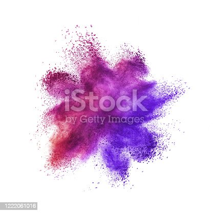 874001974 istock photo Abstract powder or dust explosion on a white background. 1222061016