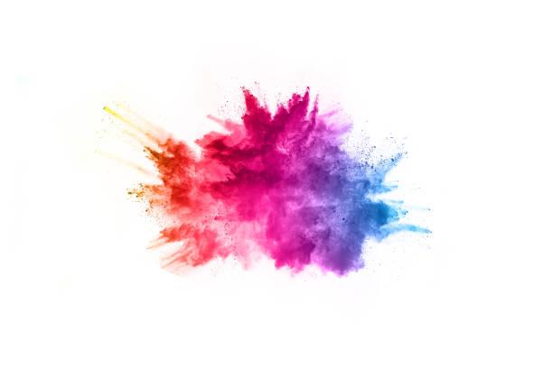 추상 분말 splatted 배경입니다. 흰색 바탕에 화려한 분말 폭발입니다. 색깔된 구름입니다. 다채로운 먼지 폭발. 페인트 holi입니다. - 색상 이미지 뉴스 사진 이미지