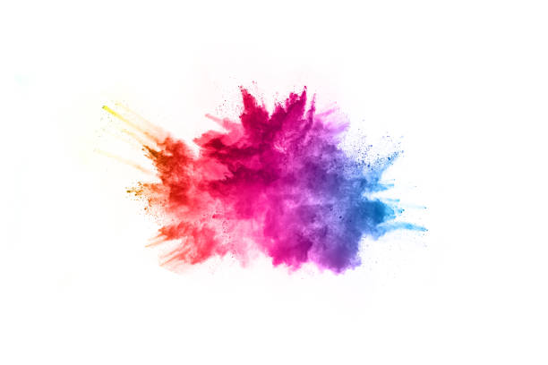 Abstract powder splatted background. Colorful powder explosion on white background. Colored cloud. Colorful dust explode. Paint Holi. Explosion of colored powder on white background ,Freeze motion of color powder exploding/throwing color powder, multicolored glitter texture. powder snow stock pictures, royalty-free photos & images