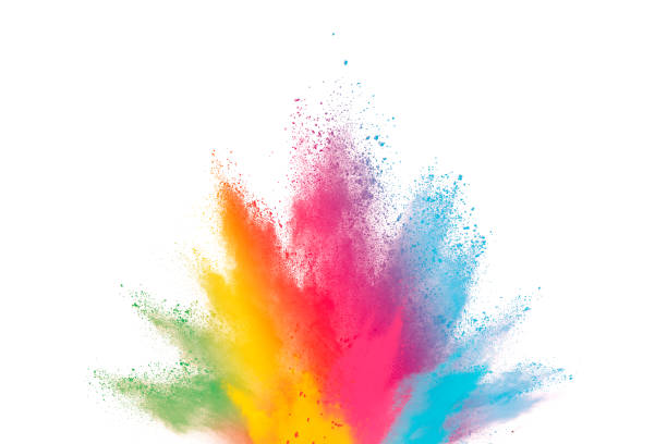 abstract powder splatted background. paint holi. - colore descrittivo foto e immagini stock